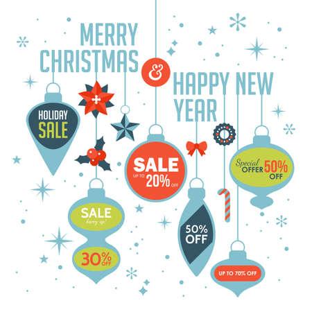 Natale modello di progettazione di vendita banner. Illustrazione di vettore per le promozioni di social media, newsletter e annunci Vettoriali