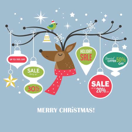 modello di progettazione di Natale vendita banner con cervo carino. Illustrazione di vettore per le promozioni di social media, newsletter e annunci Vettoriali