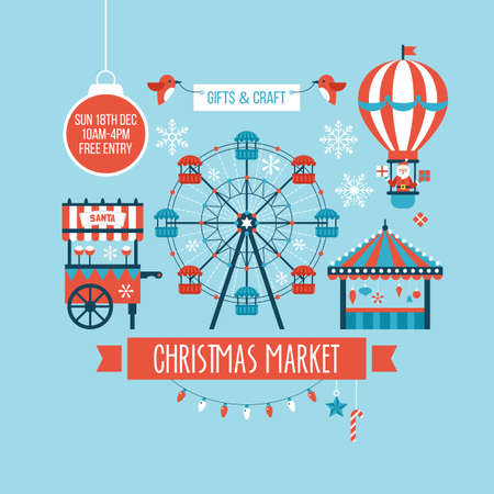christmas market: Christmas market and holiday fair poster design