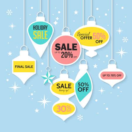 Natale vendita banner e adesivi modello di progettazione. Illustrazione di vettore per le promozioni di social media, newsletter e annunci