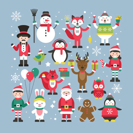 Set of cute christmas characters for graphic and web design Vectores