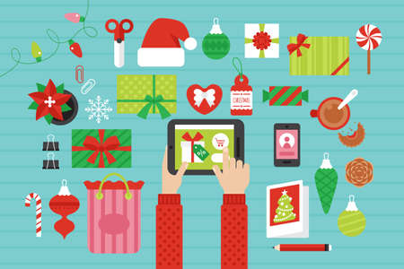 Christmas online shopping concept with top view table. Flat lay  イラスト・ベクター素材