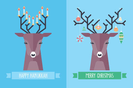 Christmas and Hanukkah holiday celebration concept with deer