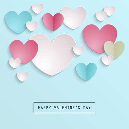 Valentino astratto sfondo di San Valentino con forme di cuore di carta Vettoriali