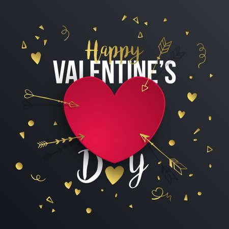 Valentino astratto sfondo di San Valentino a forma di cuore di carta e tipografia