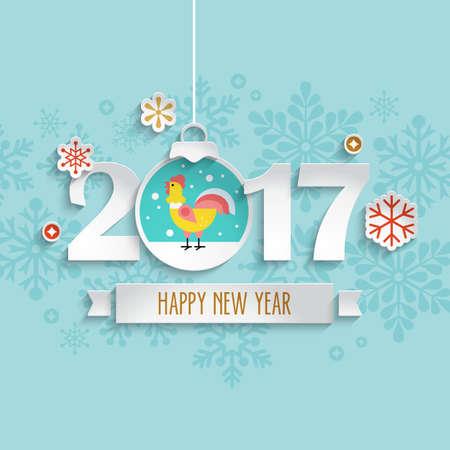Buon Anno 2017 design con decorazione di taglio della carta a sfera e gallo Vettoriali