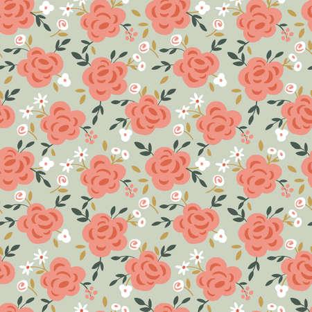 Rose fiore modello seamless con elementi disegnati a mano