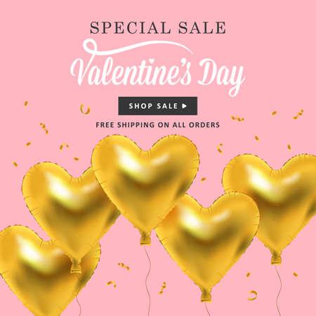 Valentines background giornata con palloncini d'oro metallico a forma di cuore. I social media promozione di vendita speciale. Vettoriali