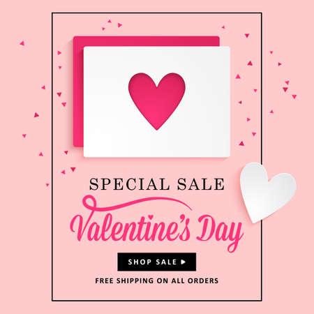 Valentines disegno giorno banner con carta di carta e la forma del cuore. I social media promozione di vendita speciale. Vettoriali