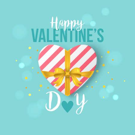 Valentines disegno giorno banner con confezione regalo a forma di cuore e l'arco
