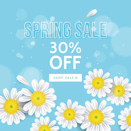 Spring sale banner design with realistic daisy flowers. Floral background for social media promotion Stock Illustratie