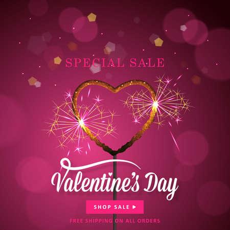 banner design San Valentino a forma di cuore sparkler su sfondo bokeh. I social media promozione speciale vendita
