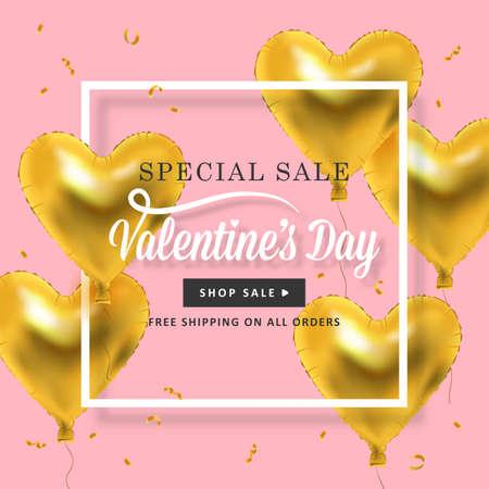 banner design San Valentino con palloncini d'oro metallico a forma di cuore. I social media promozione speciale vendita con bordo quadrato