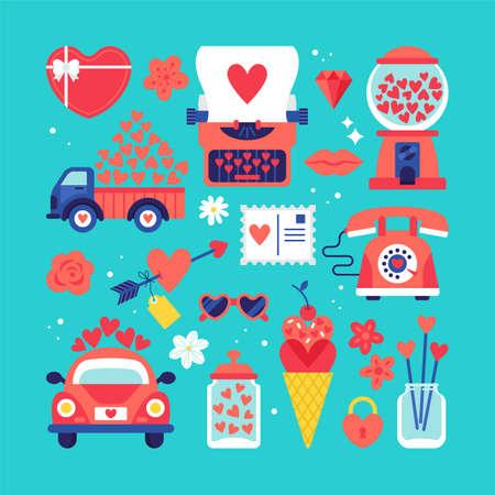 San Valentino adesivi simpatici fissati per la progettazione grafica e web