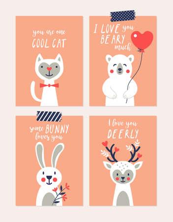 San Valentino carte carino auguri impostate con animali buffi personaggi
