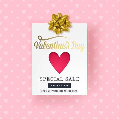 Valentines disegno giorno banner con carta di carta, a forma di cuore e fiocco d'oro. I social media promozione di vendita speciale.