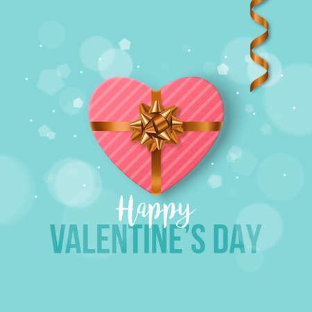 banner design San Valentino con regalo a forma di cuore. manifesto moderno con realistico arco dorato