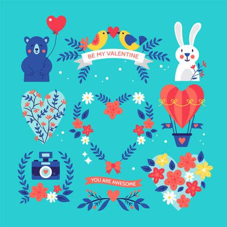 elementi floreali carino giorno di S. Valentino impostati per la progettazione grafica e web