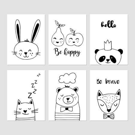 Arredamento moderno vivaio mano in bianco e nero disegnato illustrazioni vettoriali. Carino carte animali disegno.
