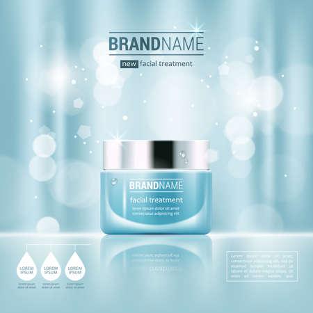 Crema viso barattolo di vetro realistica illustrazione vettoriale isolato su sfondo blu bokeh. annuncio Cosmetic mock up modello per la progettazione vendita manifesto