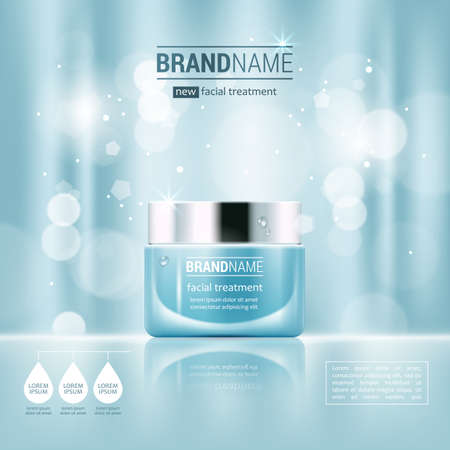 blue glass: Facial cream glass jar realistic vector illustration isolated on blue bokeh background. Cosmetic ad mock up template for sale poster design