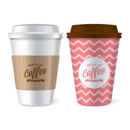 tazza di caffè di carta illustrazione vettoriale realistica per mock up di progettazione