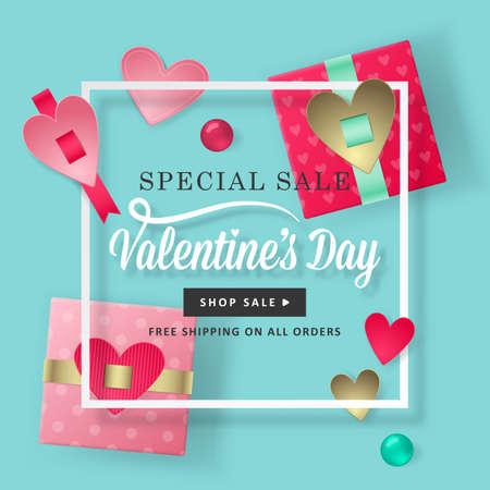 San Valentino concetto di giorno con le moderne scatole regalo realistica illustrazione vettoriale. Social media banner design in vendita promozione e la pubblicità Vettoriali