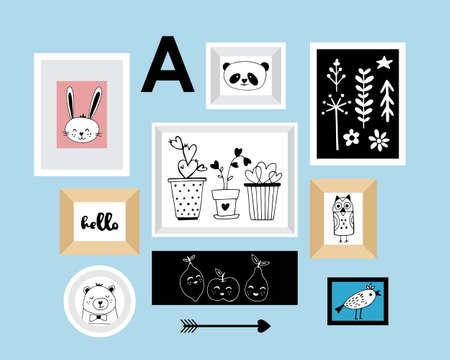 Arredamento moderno vivaio mano in bianco e nero disegnato illustrazioni vettoriali. animali e gli elementi per la progettazione