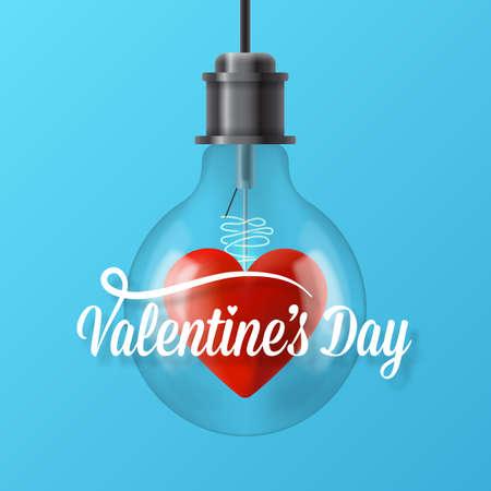 San Valentino concetto di giorno con la lampadina e la forma del cuore. illustrazione vettoriale realistico