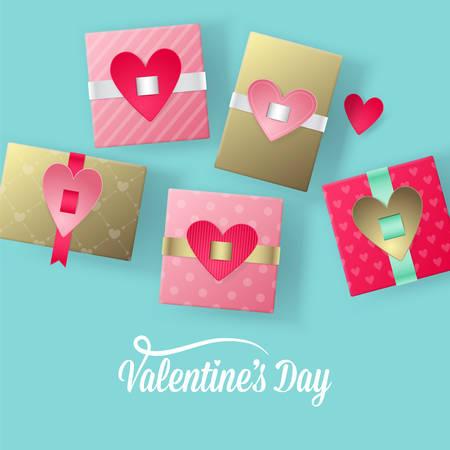 San Valentino concetto di giorno con le moderne scatole regalo illustrazione vettoriale realistico Vettoriali