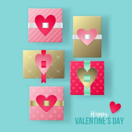 San Valentino moderne scatole regalo realistica illustrazione vettoriale. Shopping e concetto di vendita