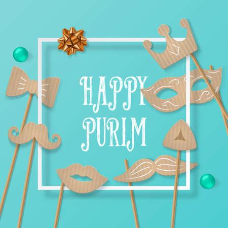 concetto di vacanza Purim con maschera di carnevale di cartone, i baffi, corona e cornice quadrata. illustrazione vettoriale realistico