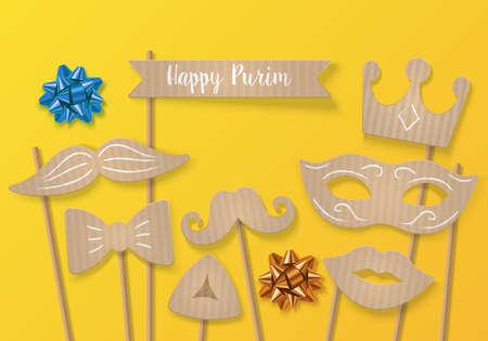 concetto di vacanza Purim con maschera di cartone di carnevale, i baffi e la corona. illustrazione vettoriale realistico Vettoriali