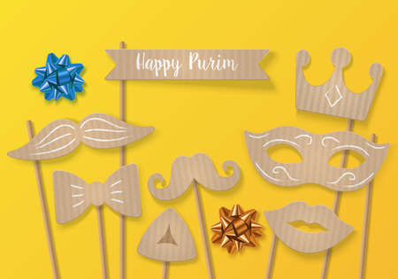 Purim holiday concept with cardboard carnival mask, mustache and crown. Realistic vector illustration
