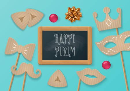 concetto di vacanza Purim con maschera di cartone di carnevale, baffi e lavagna. illustrazione vettoriale realistico Vettoriali