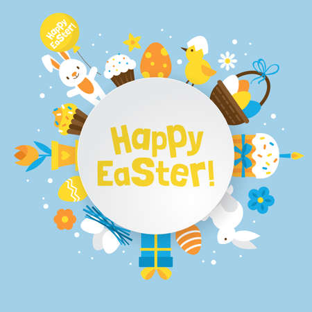 Easter holiday round banner design with cute elements for graphic and web design Vettoriali