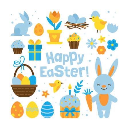 concetto di vacanza di Pasqua con elementi serie per la progettazione grafica e web su sfondo bianco