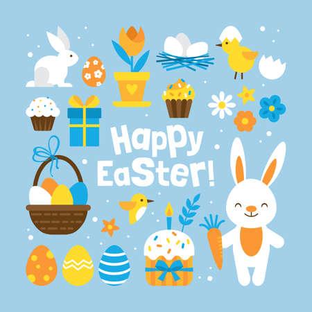 concetto di vacanza di Pasqua con elementi serie per la progettazione grafica e web