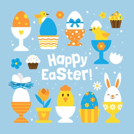 concetto di vacanza di Pasqua con l'insieme dei titolari simpatici uovo per la progettazione grafica e web