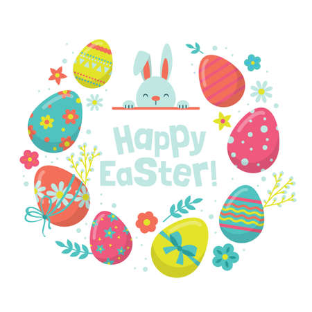 Easter holiday banner design with cute bunny and eggs decorations on white background