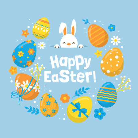 Easter holiday banner design with cute bunny and eggs decorations Vettoriali