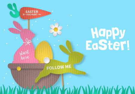 Easter holiday concept with bunny, egg and basket cardboard paper silhouette. Realistic vector illustration
