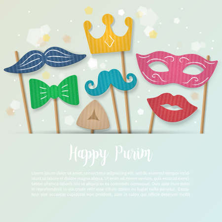 Purim holiday banner design with cardboard carnival mask, mustache and crown. Realistic vector illustration, copy space for text