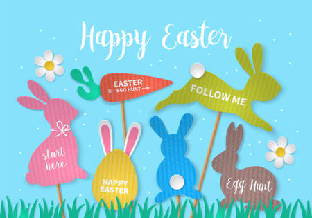 Easter holiday concept with bunny, egg, carrot and grass cardboard paper silhouette. Realistic vector illustration Illustration