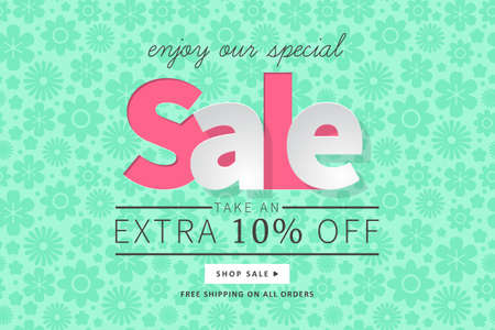 Sale banner template for social media and mobile apps with typography and floral illustration.