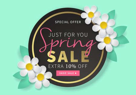 Primavera tondo vendita modello della bandiera nera per i social media e applicazioni mobili con fiori di carta margherita in illustrazione menta. Vettoriali