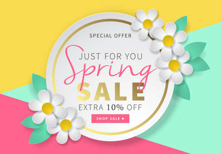 Spring sale round banner template for social media and mobile apps with paper daisy flowers and colorful illustration. Vettoriali