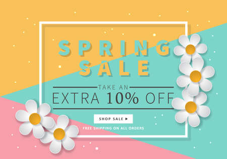 Spring sale banner template for social media and mobile apps with paper daisy flowers and colorful illustration.