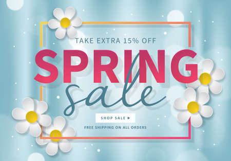 Spring sale banner template for social media and mobile apps with paper daisy flowers isolated on blue bokeh illustration. Vettoriali