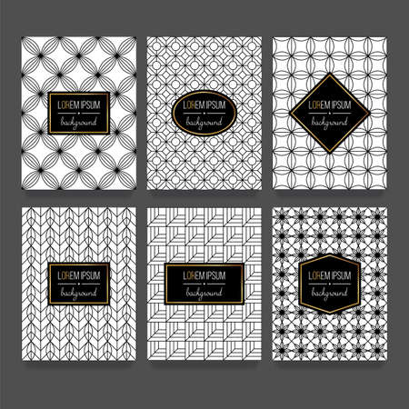 Trendy linear style pattern set for packaging design in black and white.
